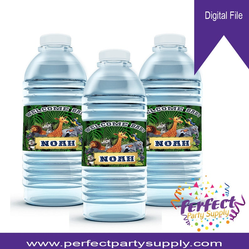 You Print /& Apply Safari Water Bottle Label-Jungle Theme Party-Safari Birthday-Safari Baby Shower