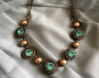 Turquoise and bronze pearl Swarovski Crystal necklace