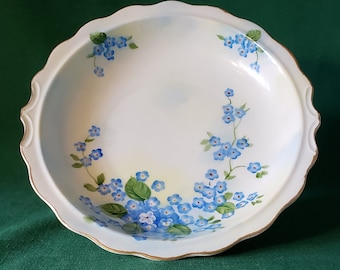 Lefton china hand painted pitcher basin, forget-me-not blue flower design and gold accent