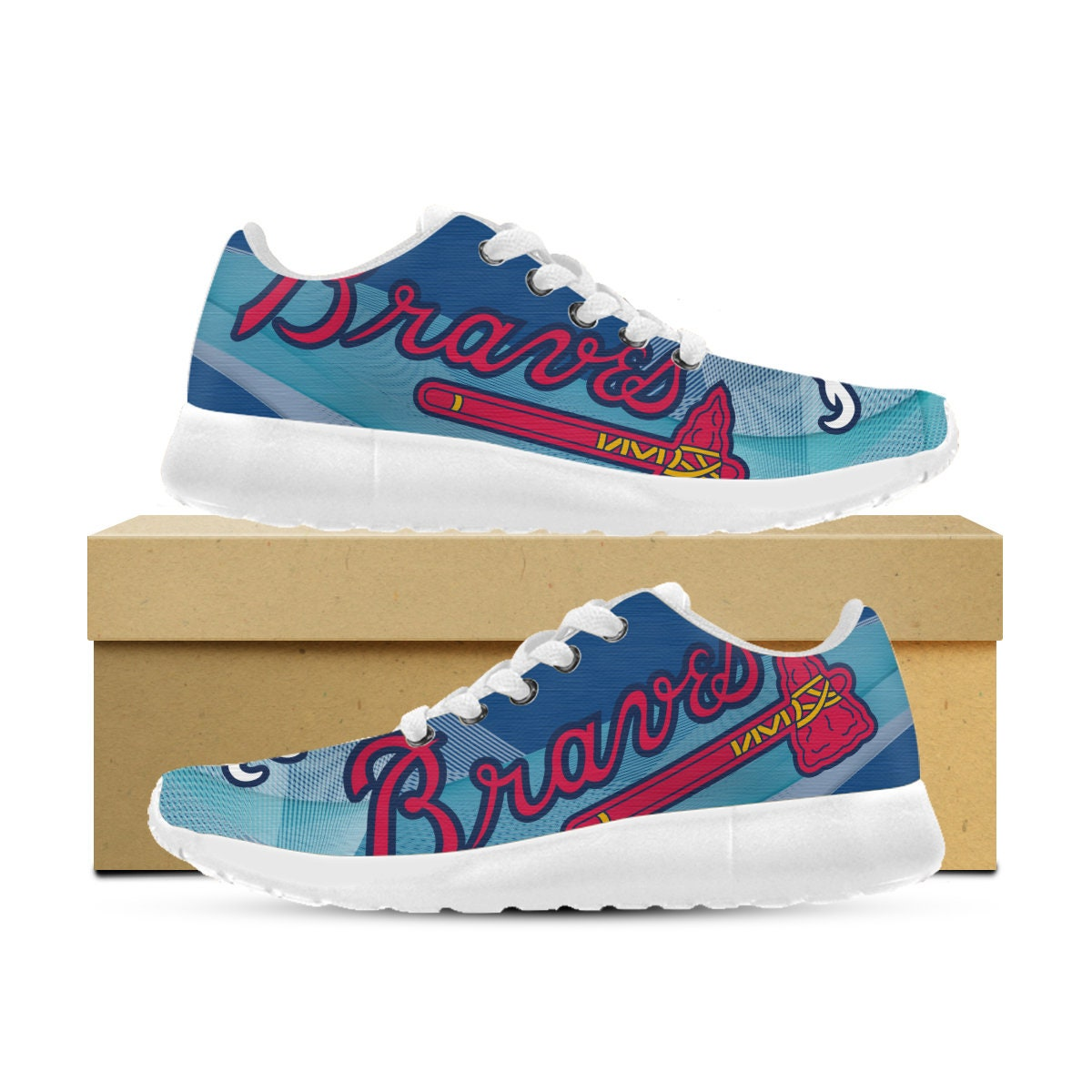 Atlanta Braves Shoes Custom Printed Sneakers Trainers / Runners/ Gym Kids Shoes Womens Mens and Kids Gym 8f8847