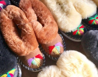 ONAIE Embroidered Sheepskin Slippers OUTLET