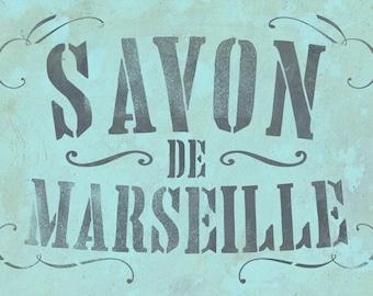 Schablone Savon De Marseille   Baddeko Stencil   Shabby Chic Deko    Französisches Vintage Etikett   Schablone Für Möbel, Stoff, Papier, Wand