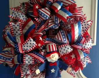Patriotic  4Th Of July Deco Mesh Red ,White ,Blue