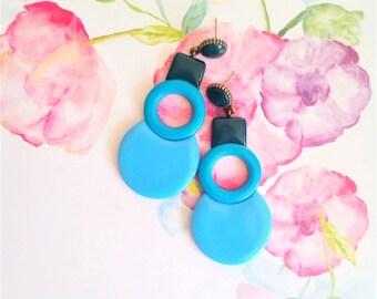 Blue ombre earrings, big blue earrings, large blue studs, blue geometric earrings, geometric ombre earrings, sky blue earrings, ombre studs