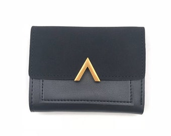 Wallet in faux leather, black and gold