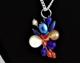 Fresh Water Pearl, Orange and Blue Glass, Orange Crystal and Lapis Lazuli Small Chain Necklace