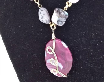 Mother of Pearl, Ice Flake Quartz, Amethyst, Fresh Water Pearls and Agate Chain Necklace