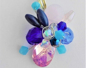 Pink and Blue Swarovski Crystal, Faceted Glass and Lapis Lazuli Small Chain Necklace