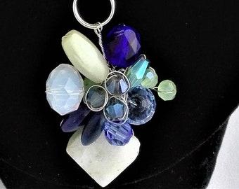 Amazonite, Glass, Swarovski Crystal, Lapis Lazuli Small Chain Necklace