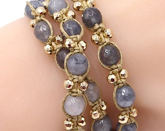 Blue Gemstone Beaded Bracelet Wrap Boho For Women Fashion Jewelry Gift For Her