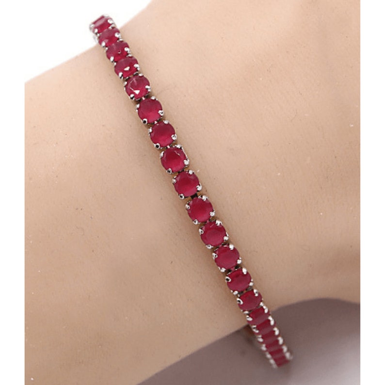 Ruby Red CZ Silver Tennis Slide Bracelet Simulated Diamond Delicate Bridal Dainty Cubic Zirconia Women/'s Jewelry Gift For Her
