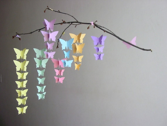 Butterfly Baby Mobile Pastel Baby Mobile Rainbow Baby Etsy