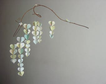 Heart Baby Mobile - Atlas Baby Mobile - Upcycled Atlas Baby Shower Decoration -  Atlas Baby Shower Gift - Recycled Atlas Baby Decorations