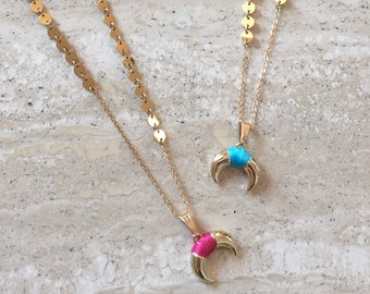 Gold tassels and Horn necklace