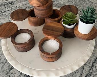Acacia wood salt cellar, personalized salt cellar, custom salt cellar, monogram salt cellar, herb cellar, pepper cellar, spice box, salt pig