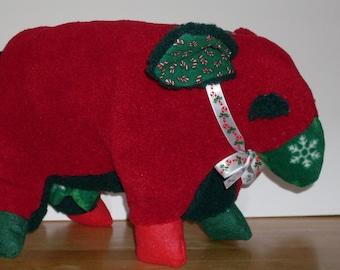 Fleece Navidad: red and green Christmas sheep plush