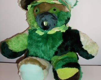 The Green Bear: Plush Handsewn Teddy Bear Version of The Green Man