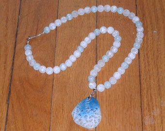 Snow Queen's Dream: blue and white necklace with lacy agate pendant and beads of quartz and crackle glass
