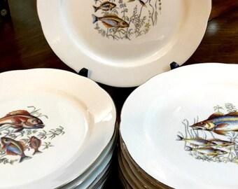 14pc Bavarian porcelain fish plates