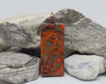 Fluid Painted Pendant, One of a Kind