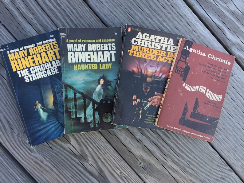 Grouping of 4 Vintage Mystery Paperbacks, Agatha Christie, Mary Roberts  Rinehart, The Circular Staircase, Huanted Lady, Holiday for Murder
