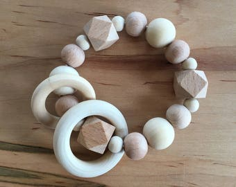 Natural Wood Baby Teether Ring/Rattle /Teething Toy / Baby Toy / Teether