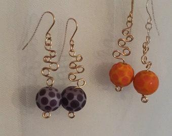 Wire work Orb Dangle Earrings