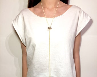 White Polymorphic Necklace, Silver-Plated Beads, Worn in many ways, Minimal Design, Handmade