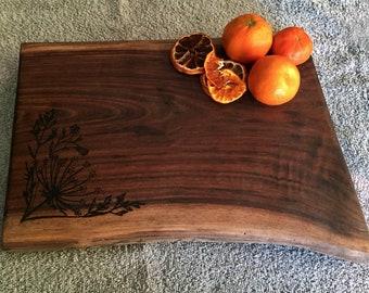 Queen Anne's Lace Custom Flower Walnut Cutting Board