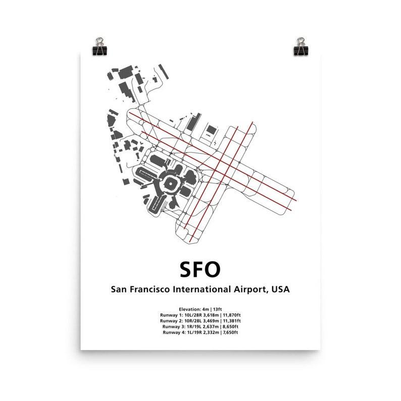 SFO San Francisco Airport Map Wall Art | Etsy