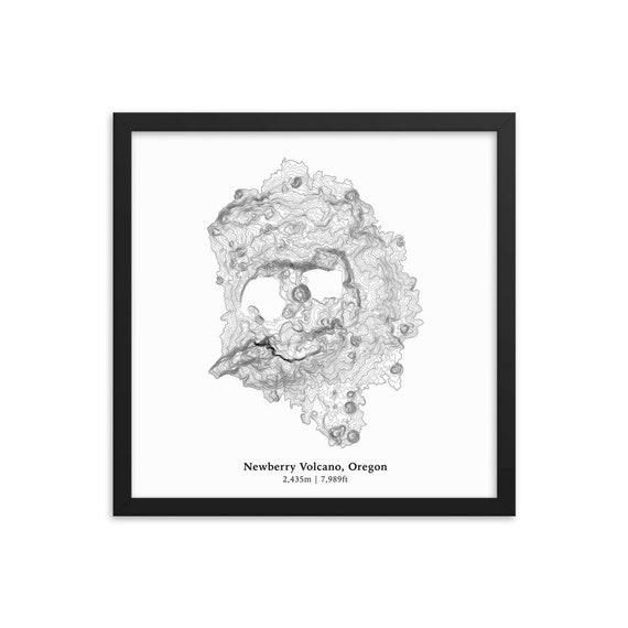 Volcano Topographic Map.Newberry Volcano Topographic Map Cascade Range Oregon Etsy