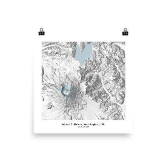 Mt St Helens Washington Map.Mt St Helens Topography Map Washington Features Glaciers And Etsy
