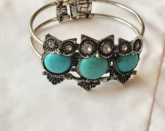 """Owl bangle with 3 wise owls in turquoise. """"3 Wise Owls"""""""