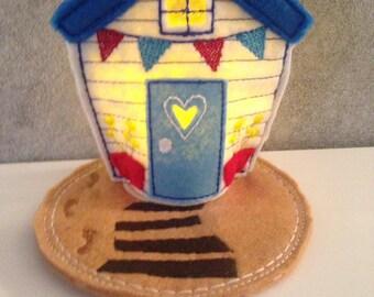 Embroidered Beach hut Tea light. Hand made.