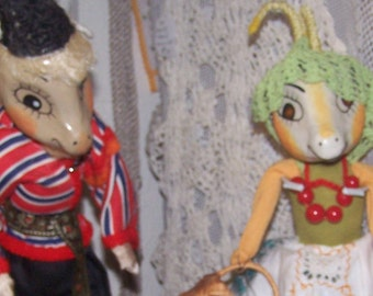 Handmade, Dolls, Goat People/Couple, Vintage