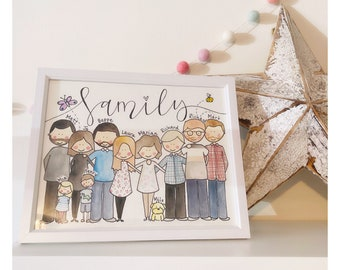 Hand Illustrated Family Portrait/Custom Family Illustration/Family and Pet Portrait/Couple Illustration/Hand Drawn and Painted/Bespoke