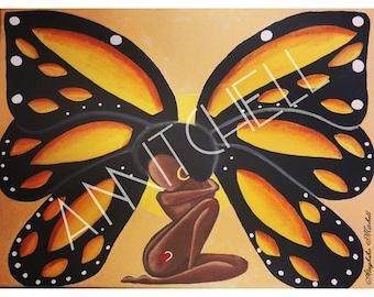 Fire Skies Photo Print |Black Art| Butterfly|Acrylic Painting|Digital Print|Prints|Art| Black Girl Magic| Afro