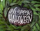 Halloween Sign for Wreath - Halloween Wreath Pumpkin - Craft Supplies - Printed Fall Pumpkin Sign - Farmhouse Halloween