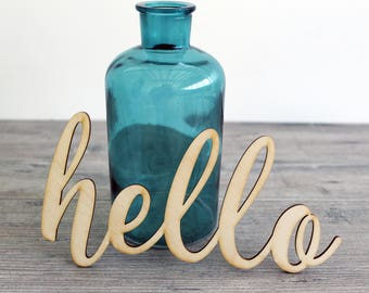 """6"""" - 18"""" Hello Wood Word Cut Out - Words for Wreath - Hello Wood Decor - Cursive Hello - Craft Supplies"""