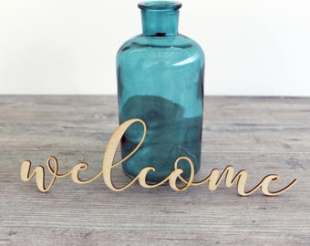 """Welcome Laser Cut Wood Word for Signs and Home Decor - 6"""" - 18"""" Cursive Welcome Word"""