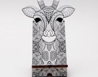 Wooden smartphone stand Giraffe, Smartphone stand, Fancy stand, iPhone stand, Wooden stand, Giraffe