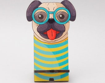 Wooden smartphone stand Fancy Dog, Smartphone stand, Fancy stand, iPhone stand, Wooden stand, Dog, Dog phone stand