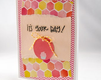 Pink Cupcake Birthday Card