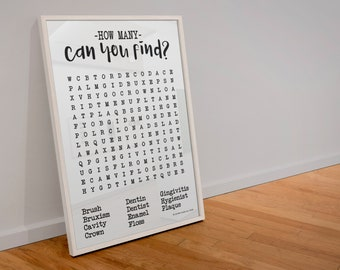 Ordinaire Dentistry Word Search Poster, Dental Office Wall Art, Dental Poster, Dental  Art, Dental Office Decor