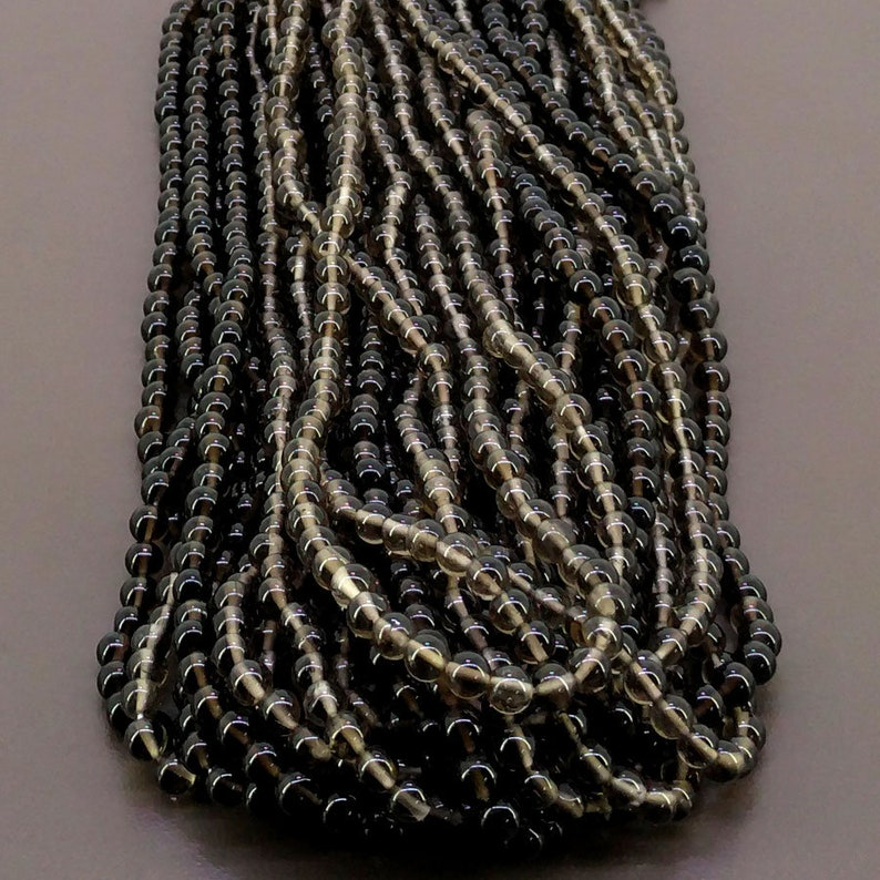 Total 19 Strands of 14 Inches SKU#20215 Full Hank of 7-12.5mm Smoky Quartz Smooth Round Natural Gemstone Beads CLOSEOUT SALE