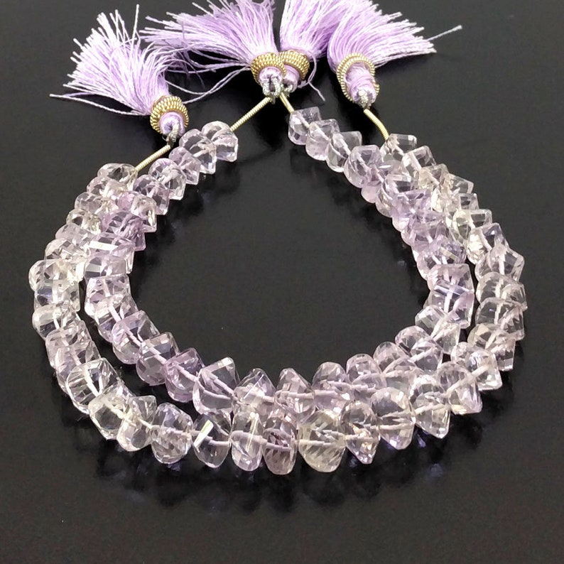 SKU#20230 Total 4 Strands of 8 Inches CLOSEOUT SALE Full Hank of 7-11mm Pink Amethyst Faceted Twisted Shape Natural Gemstone Beadss