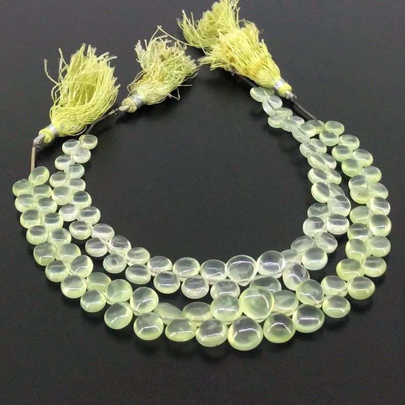 SKU#19182 Full Hank of 5-9mm Prehnite Smooth Heart Natural Gemstone Beads Total 6 Strands of 8 Inches CLOSEOUT SALE