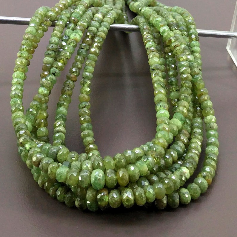 Total 7 Strands of 18 Inches CLOSEOUT SALE SKU#20112 Full Hank of 3-7mm Demantoid Garnet Faceted Rondelle Natural Gemstone Beads