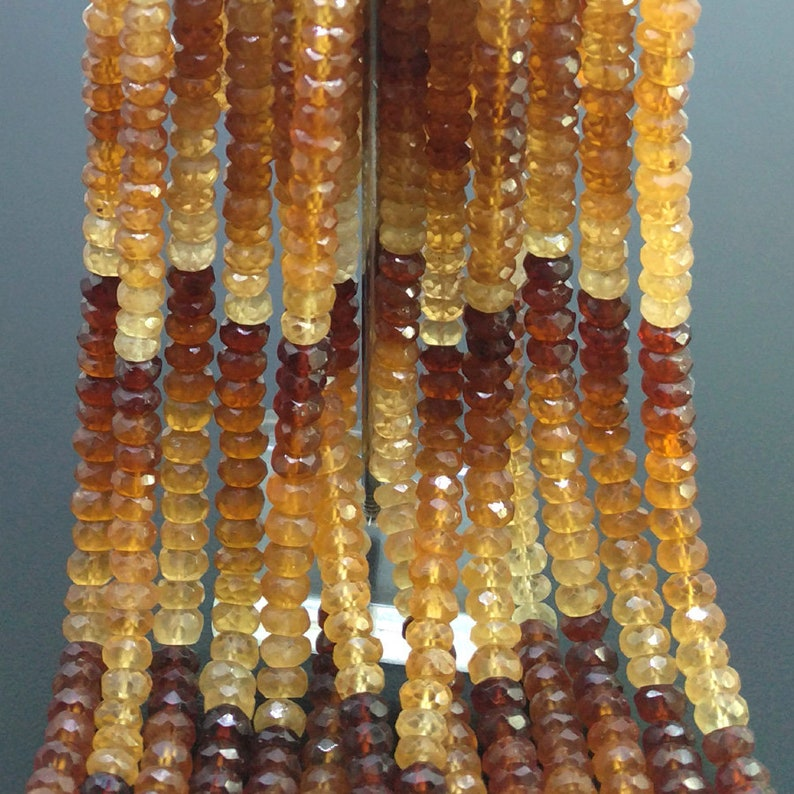 CLOSEOUT SALE Total 14 Strands of 13 Inches Full Lot of 6-6.5mm Hessonite Garnet Faceted Rondelle Natural Gemstone Beads SKU#18661