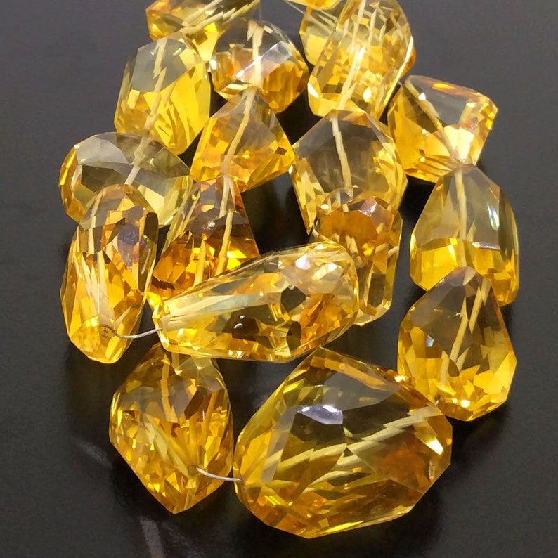 Full Hank of 24-34mm Citrine Step Cut Nuggets Natural Gemstone Beads CLOSEOUT SALE SKU#19677 Total 2 Strands of 10 Inches